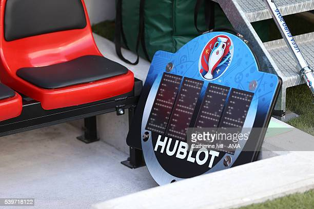 General view of the Hublot Euro 2016 substitutes board during the UEFA EURO 2016 Group C match between Poland and Northern Ireland at Allianz Riviera...