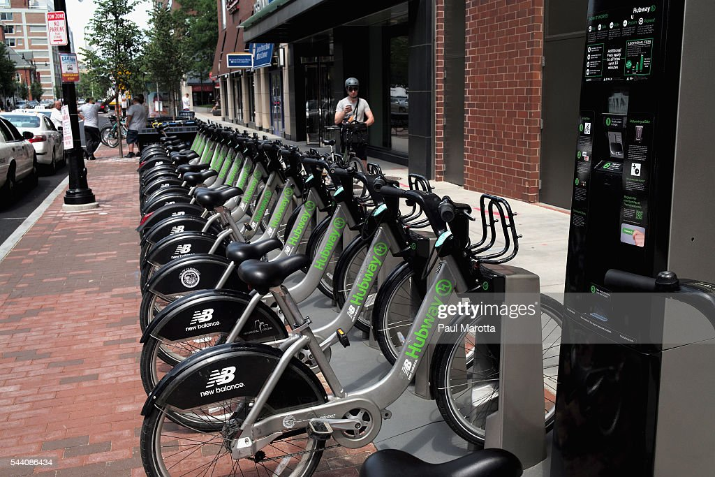 A general view of the Hubway bicycle rental stand in Kendall Square on July 1, 2016 in Cambridge, Massachusetts.