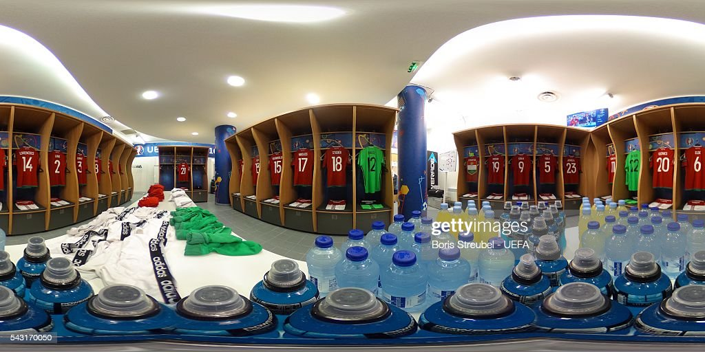 A general view of the Hungary dressing room prior to the UEFA EURO 2016 round of 16 match between Hungary and Belgium at Stadium Municipal on June 26, 2016 in Toulouse, France.