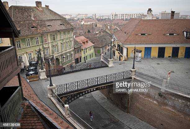RODINA A general view of the hystorical center of Sibiu city in Romania on October 21 2014 With its poetic streets and baroque buildings Sibiu...