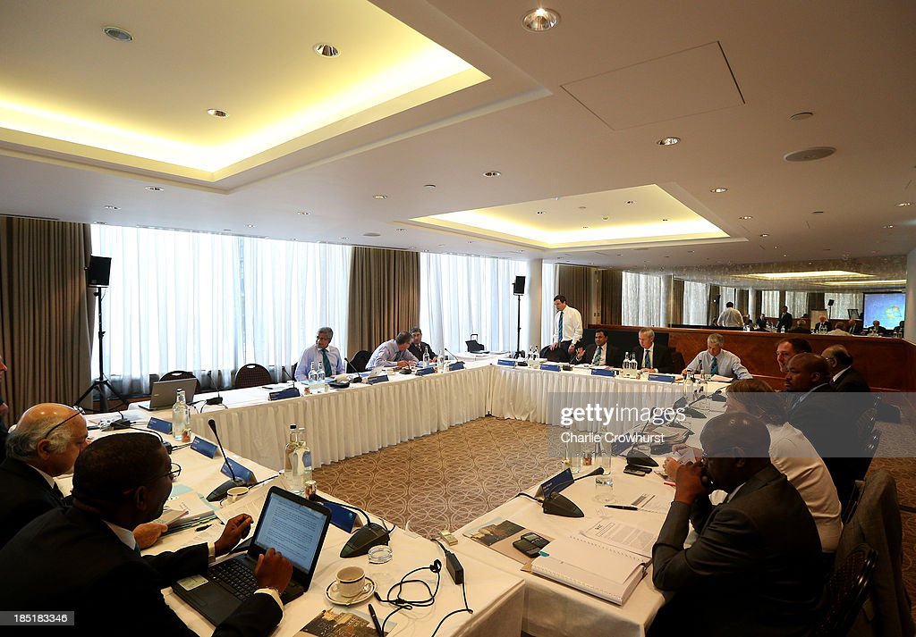 A general view of the ICC Board Meeting during the ICC Board Meeting at The Royal Garden Hotel on October 18, 2013 in London, England.