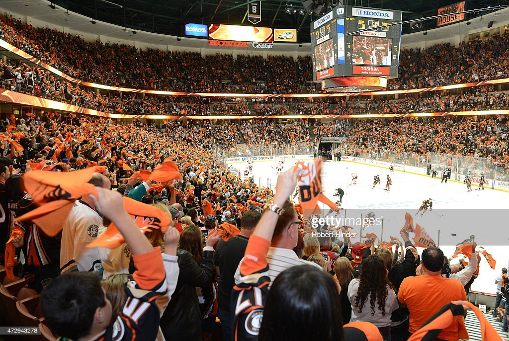 A general view of the ice before the game between the Anaheim Ducks and the Calgary Flames in Game Five of the Western Conference Semifinals during the 2015 NHL Stanley Cup Playoffs at Honda Center on May 10, 2015 in Anaheim, California.