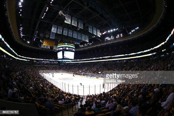 A general view of the ice during the second period between the Boston Bruins and the Vancouver Canucks at TD Garden on October 19 2017 in Boston...
