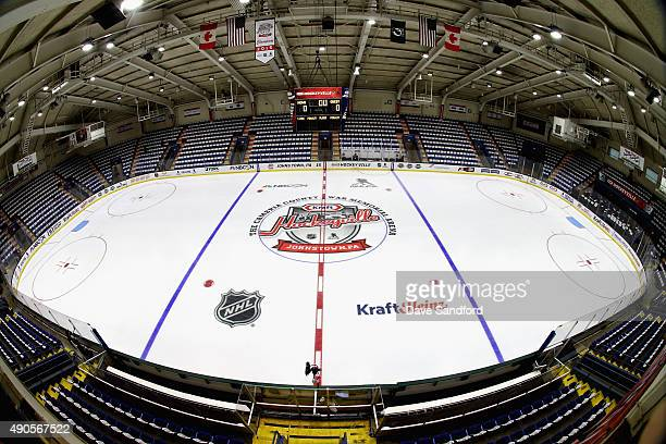 A general view of the ice prior to the start of the NHL Kraft Hockeyville USA preseason game between the Tampa Bay Lightning and the Pittsburgh...