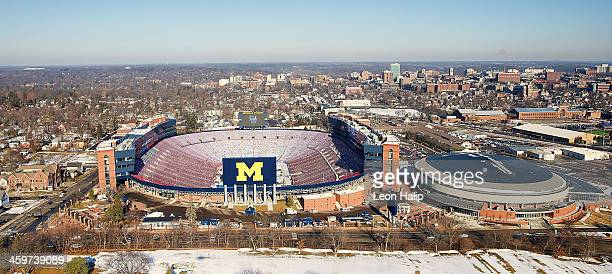 A general view of the ice surface at Michigan Stadium as NHL crews continue their preperations for the 2014 Bridgestone NHL Winter Classic in Ann...