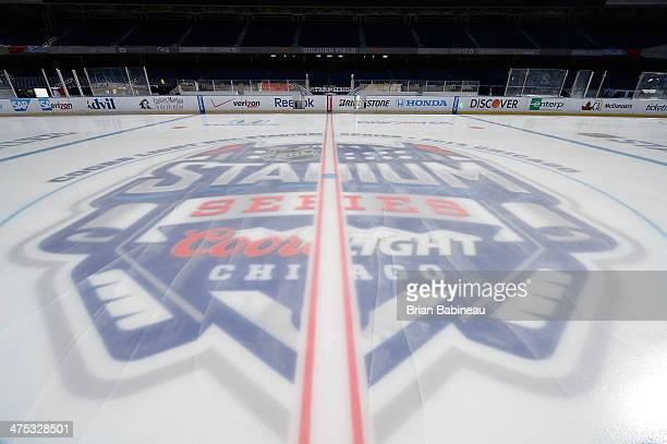 A general view of the ice surface is seen during the 2014 NHL Stadium Series rink build out on February 27 2014 in Chicago Illinois