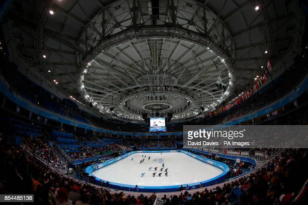 A general view of the Iceberg Skating Palace and the Mens 5000m Relay during the 2014 Sochi Olympic Games in Sochi Russia