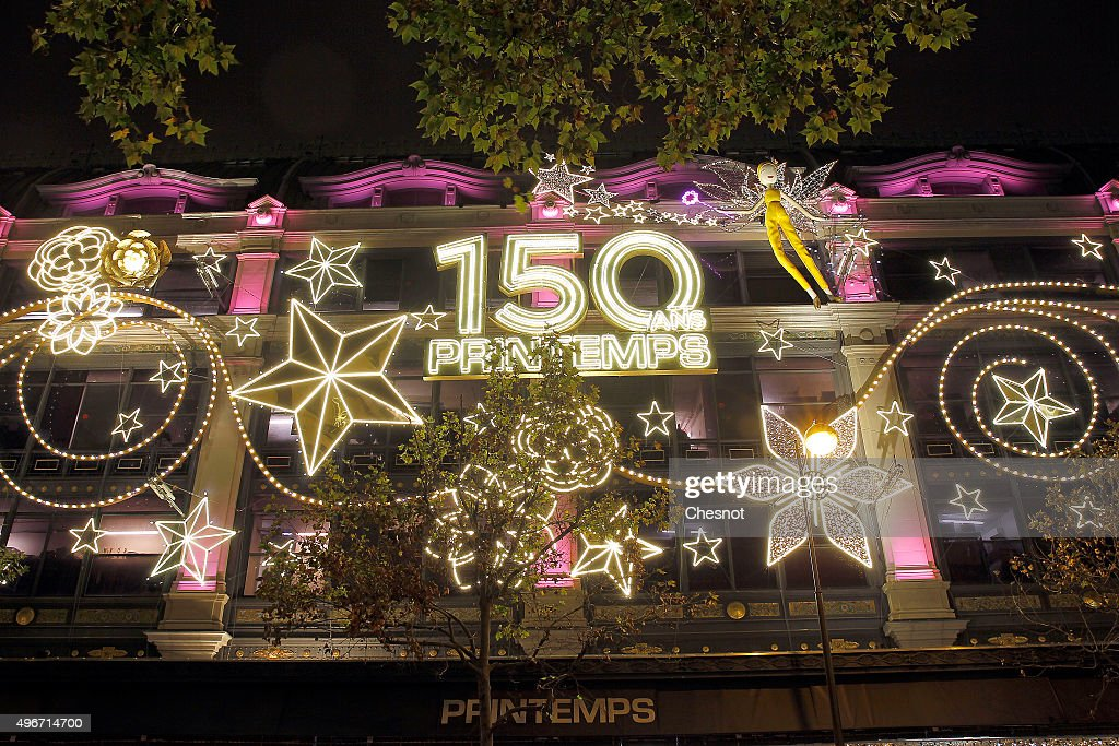 a general view of the illuminated facade of the printemps haussmann department store after the - Christmas Lights Store