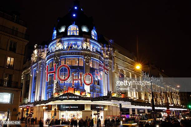 A general view of the illuminated facade with different Colours of theÊ'BHV' department store on December 11 2015 in Paris France For the first time...