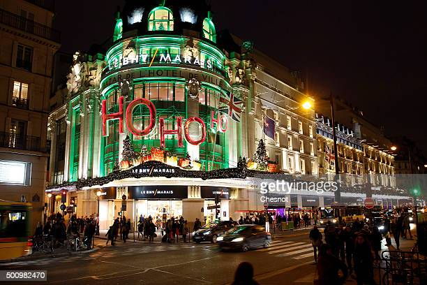 A general view of the illuminated facade with different Colours of the 'BHV' department store on December 11 2015 in Paris France For the first time...