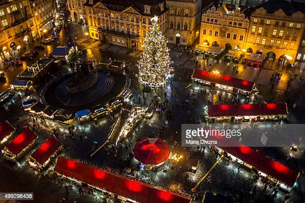 A general view of the illuminated Old Town Square with the Christmas tree at the Christmas market on November 30 2015 in Prague Czech Republic...