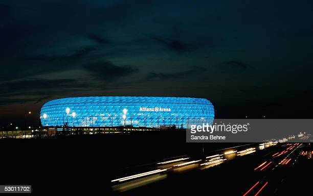 A general view of the illuminated stadium after the friendly match between TSV 1860 Munich and Bayern Munich at the Allianz Arena on June 2 2005 in...