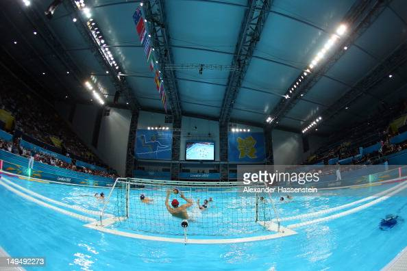 A general view of the in the Men's Water Polo Preliminary Round Group B match between Romania and Great Britain on Day 2 of the London 2012 Olympic...