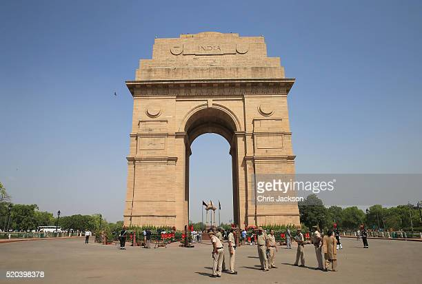 A general view of the India Gate ahead of the arrival of Prince William Duke of Cambridge and Catherine Duchess of Cambridge who will lay a wreath to...