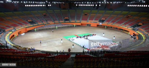 General view of The Indira Gandhi Indoor Gymnastics Stadium with a seating capacity of 15000 during a inauguration ceremony ahead of the forthcoming...