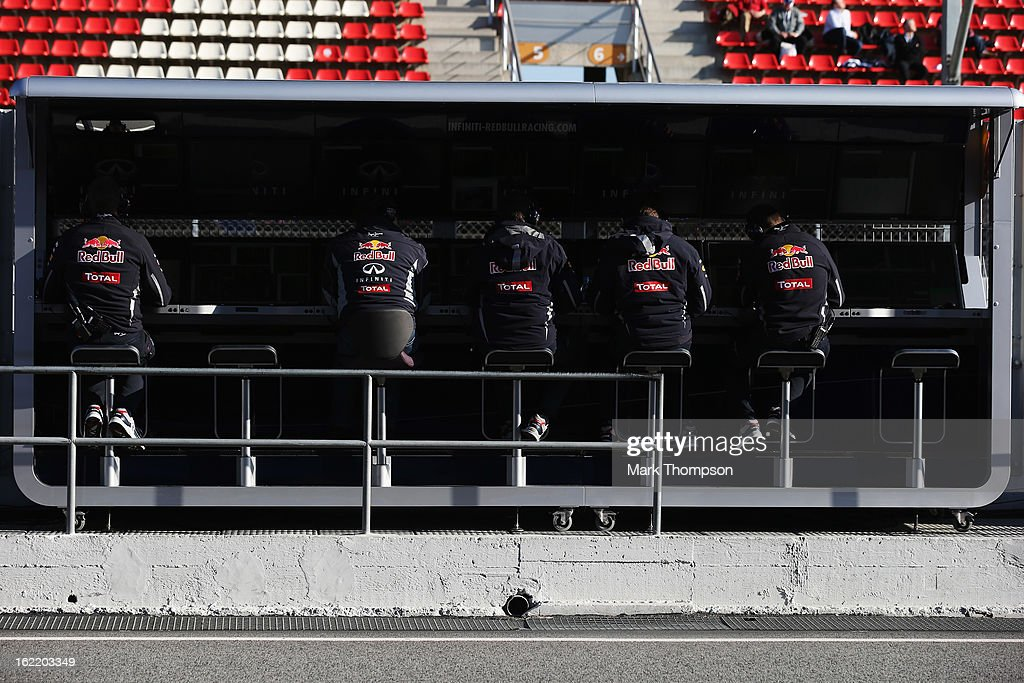 General view of the Infiniti Red Bull Racing pitwall during day two of Formula One winter test at the Circuit de Catalunya on February 20, 2013 in Montmelo, Spain.