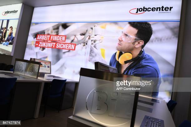 A general view of the inside of a Jobcenter in DuesseldorfMitte western Germany on August 25 2017 The number of people out of work has halved in...
