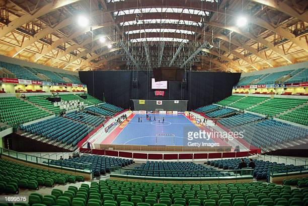 A general view of the inside of the Futsal Arena before the final of the UEFA Futsal Cup between Playas de Castellon and Charleroi held in...