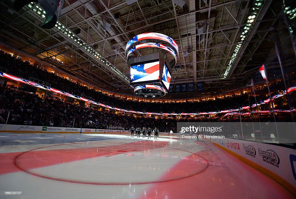 A general view of the inside of the HP Pavilion during the singing of the National Anthem before Game Four of the Western Conference Semifinals during the 2013 NHL Stanley Cup Playoffs between the Los Angeles Kings and San Jose Sharks at HP Pavilion on May 21, 2013 in San Jose, California. The Sharks defeated the Kings 2-1.