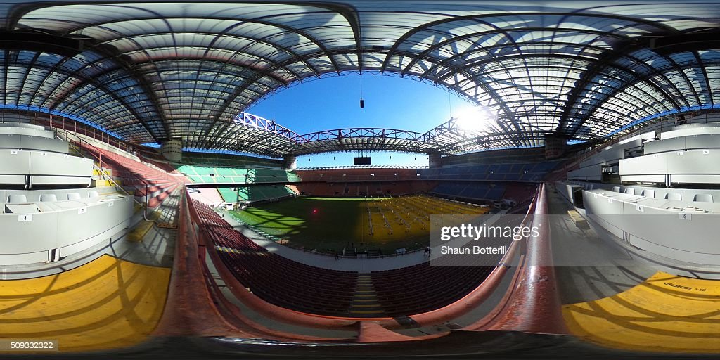 General view of the inside of the Stadio Giuseppe Meazza (San Siro) on February 10, 2016 in Milan, Italy.