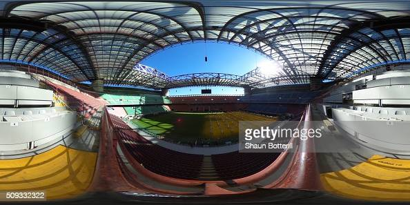 General view of the inside of the Stadio Giuseppe Meazza on February 10 2016 in Milan Italy