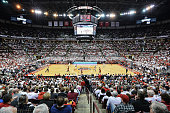 A general view of the inside of Value City Arena as the Ohio State Buckeyes play against the Wisconsin Badgers on March 8 2015 at Value City Arena in...