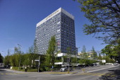 A general view of the Intercontinental hotel on April 17 2014 in Geneva Switzerland Leaders from EU US Ukraine and Russia are meeting today in Geneva...