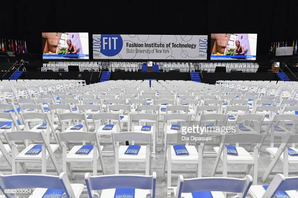 A general view of the interior before The Fashion Institute of Technology's 2017 Commencement Ceremony at Arthur Ashe Stadium on May 25 2017 in New...