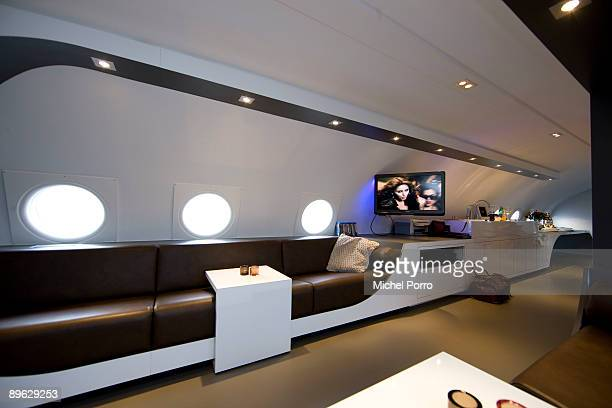 A general view of the interior of Dutch entrepreneur Ben Thijssen's converted airplane hotel on August 5 2009 in Teuge Netherlands The five star...