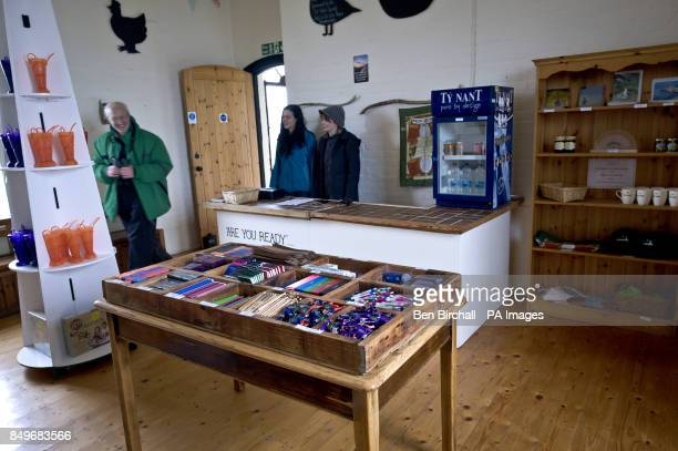 A general view of the interior of Flat Holm gift shop housed within the old Victorian stone barracks built in 1869 to sleep up to 50 men on Flat Holm...