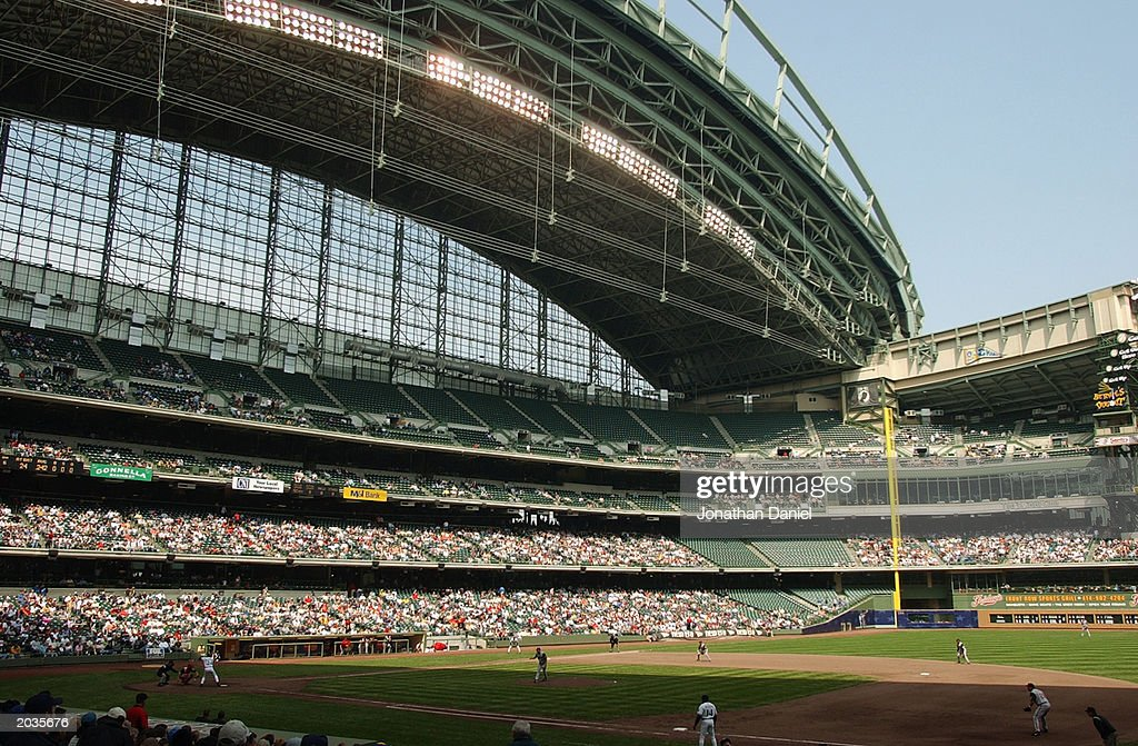 A general view of the interior of Miller Park during the game between the Milwaukee Brewers and the Cincinnatt Reds on May 17 2003 in Milwaukee...