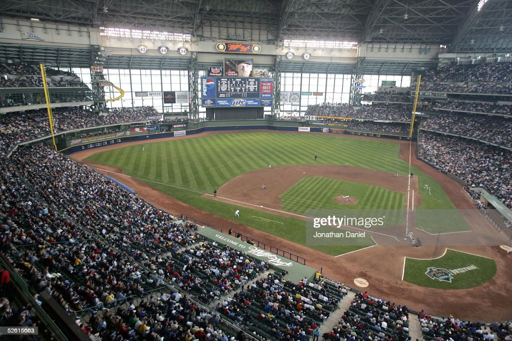 A general view of the interior of Miller Park during the opening day game between the Milwaukee Brewers and the Pittsburg Pirates on April 11 2005 at...