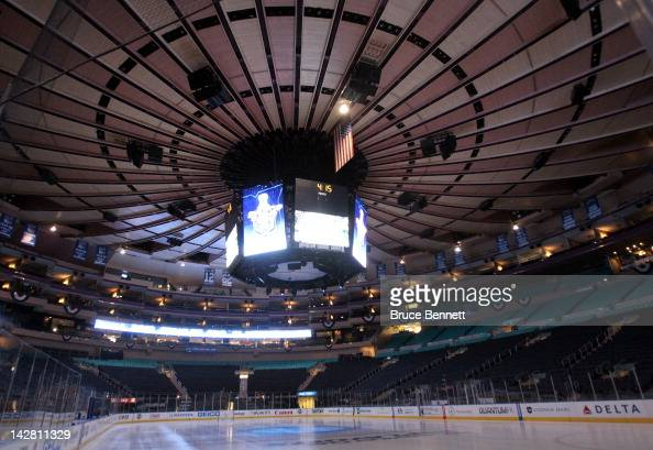 A general view of the interior of the arena prior to the New York Rangers hosting the Ottawa Senators in Game One of the Eastern Conference...