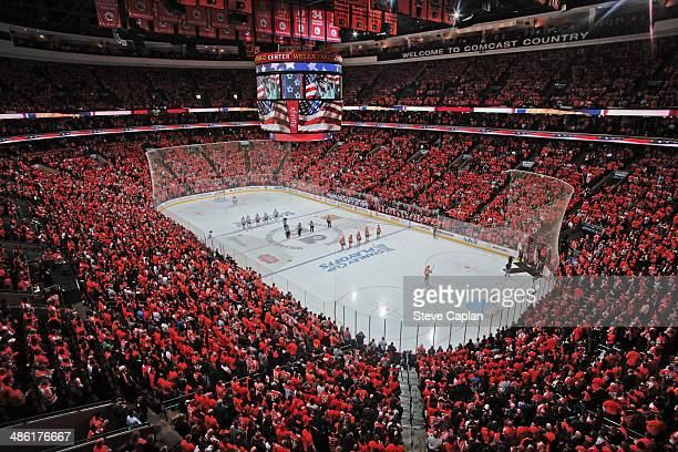 A general view of the interior of the arena prior to the Philadelphia Flyers playing the New York Rangers in Game Three of the First Round of the...