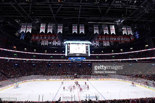 General view of the interior of the Bell Centre during the NHL game between the Montreal Canadiens and the Ottawa Senators at the Bell Centre on...