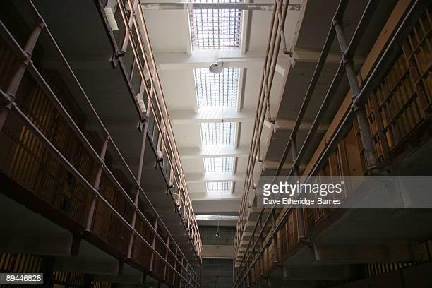 A general view of the interior of the main prison block on Alcatraz Island on June 13 2009 in San Francisco United States Alcatraz was originally...