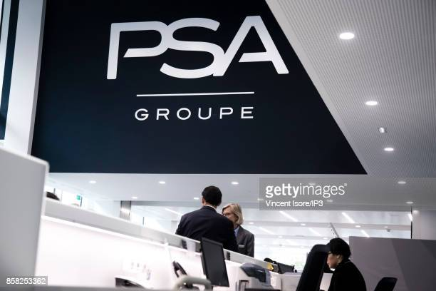 General view of the interior of the new PSA group headquarters at 7 rue Henri Sainte Claire Deville on the day of its inauguration on October 2 2017...