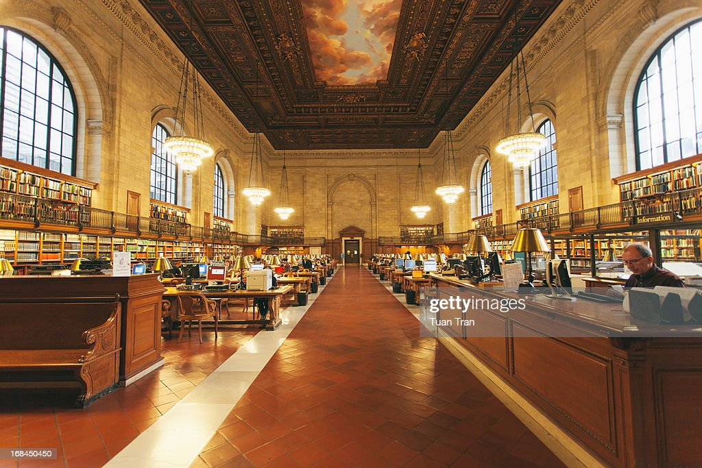 CONTENT] A general view of the interior of the New York Public Library
