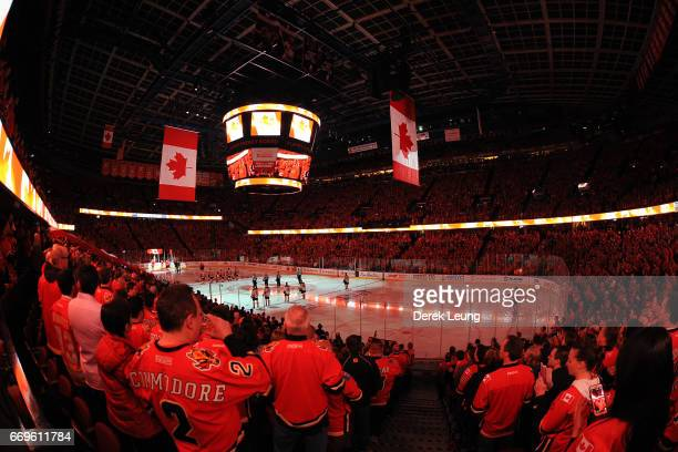 A general view of the interior of the Scotiabank Saddledome during the singing of the national anthem prior to Game Three of the Western Conference...