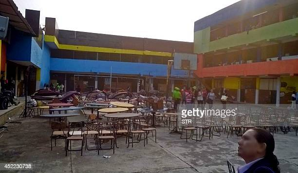 General view of the interior yard of the shelter 'La Gran Familia' during a police raid where 596 people including 458 children were rescued in...