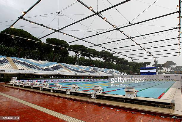 A general view of the International Settecolli Trophy suspended due to raining at Piscine del Foro Italico on June 15 2014 in Rome Italy