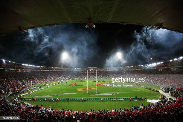 A general view of the International Test match between the New Zealand All Blacks and the British Irish Lions at Westpac Stadium on July 1 2017 in...