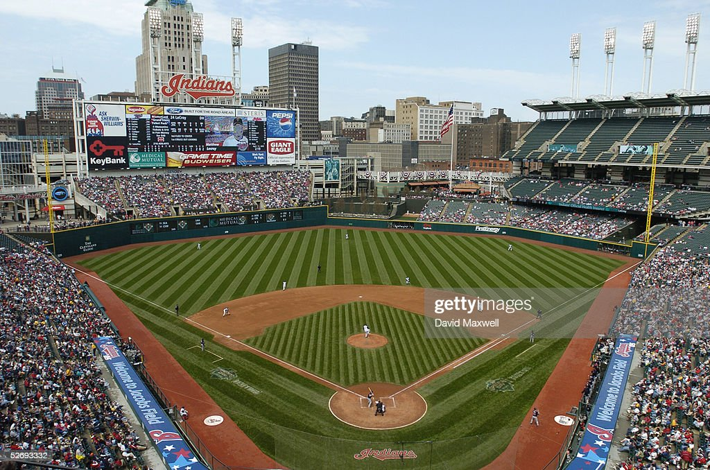 General view of the interrior of the stadium during the MLB game between the Minnesota Twins and the Cleveland Indians on April 17 2005 at Jacobs...