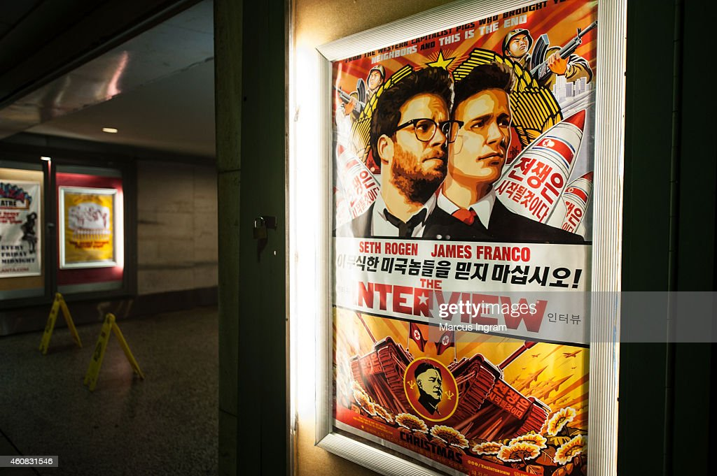 General view of 'The Interview' poster during Sony Pictures' release of 'The Interview' at the Plaza Theatre on, Christmas Day, December 25, 2014 in Atlanta, Georgia. Sony hackers have been releasing stolen information and threatened attacks on theaters that screened the film.
