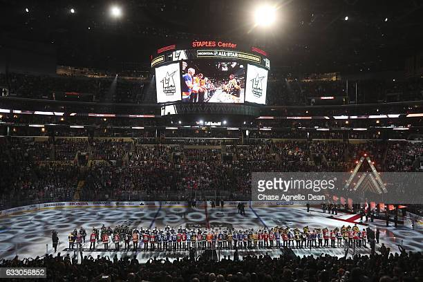 A general view of the introductions during the 2017 Honda NHL AllStar Game on January 29 2017 at the Staples Center in Los Angeles California