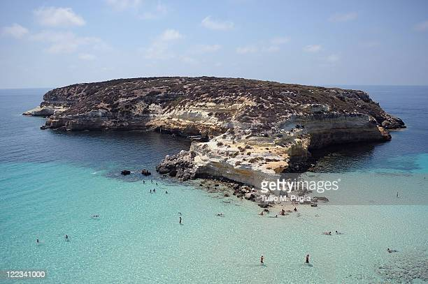 A general view of the island of Isola dei Conigli on August 23 2011 in Lampedusa Italy Isola dei Conigli is one of the last remaining egglaying sites...