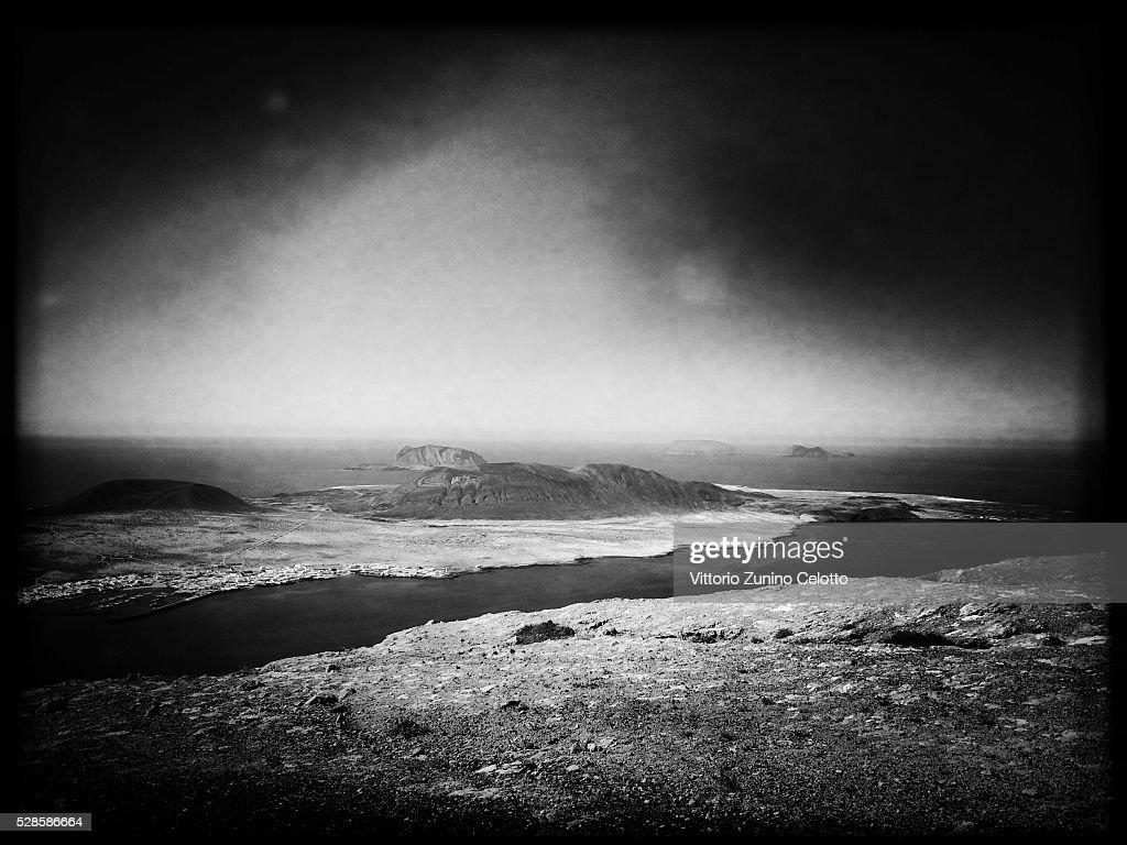 A general view of the Isle of La Graciosa on April 22, 2016 in Lanzarote, Spain.