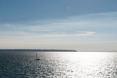 A general view of the Isle of Wight from the Wightlink ferry traveling across the Solent to Portsmouth on July 23 2016 in Portsmouth England