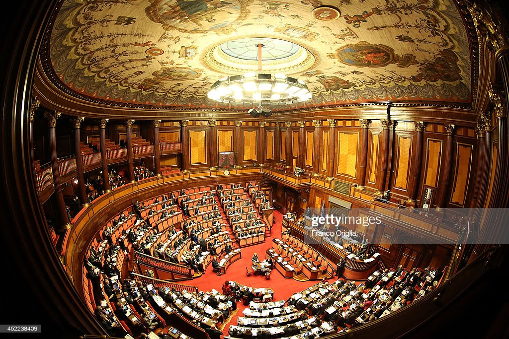 A general view of the Italian Senate, Palazzo Madama, during the discussion before the votes over Silvio Berlusconi's Parliament expulsion on November 27, 2013 in Rome, Italy. Italian Senators will vote today on whether to expel the center-right leader and former Prime Ministre Silvio Berlusconi from parliament over a conviction for tax fraud.