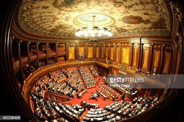 A general view of the Italian Senate Palazzo Madama during the discussion before the votes over Silvio Berlusconi's Parliament expulsion on November...